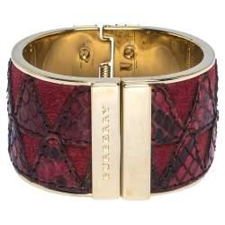 Burberry Crimson Red Python Leather Wide Cuff Bracelet