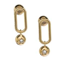 Burberry Crystal Charm Gold Tone Drop Earrings