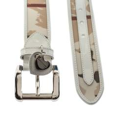 Burberry White Heart Check PVC and Leather Heart Charm Buckle Belt 90CM