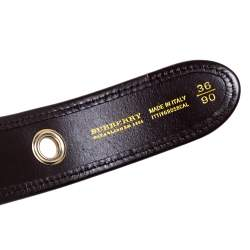 Burberry Brown Haymarket Check Coated Canvas and Leather Grommet Buckle Belt 90CM