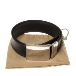 Burberry Black/Brown Nova Check Coated Canvas Charles 35 Belt 80CM