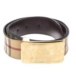 Burberry Beige Haymarket Check Canvas Belt 100CM
