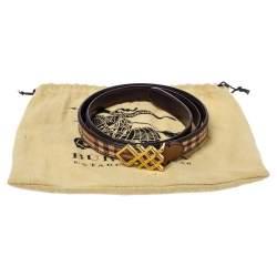 Burberry Beige/Brown Haymarket Check Canvas and Leather Pembroke Belt 85CM