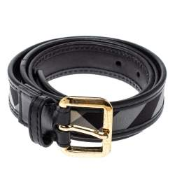 Burberry Black Beat Check Canvas and Leather Belt 90CM
