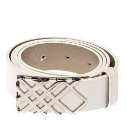 Burberry White Leather Check Buckle Belt 90CM