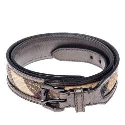 Burberry Metallic Grey/Beige Floral Embossed Check Canvas and Leather Trim Belt 90CM