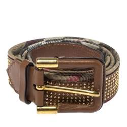 Burberry Brown Nova Check Canvas Studded Leather and Canvas Belt 100CM