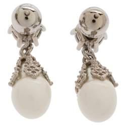 Burberry Palladium Plated White Faux Pearl Teardrop Earring