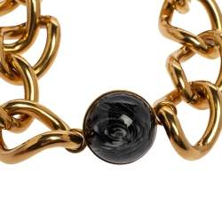 Burberry Marbled Resin Inset Charm Statement Necklace