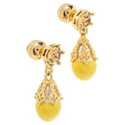Burberry Gold Plated Faux Pearl Teardrop Earrings