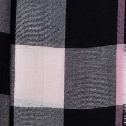 Burberry Pink & Black Check Pattern Cashmere Scarf