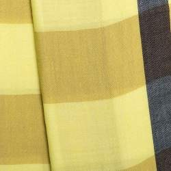 Burberry Yellow Check Pattern Cashmere Scarf