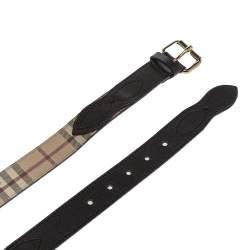 حزام بربري جلد و كانفاس مقوى مربعات هايماركت بني داكن و بيج 80 سم