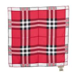 Burberry Pink Checkered Pattern Silk Square Scarf
