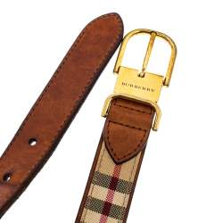 Burberry Beige/Brown Haymarket Check Canvas and Leather Slim Belt 75CM