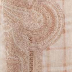 Burberry Cream Paisley Check Print Silk Chiffon Scarf