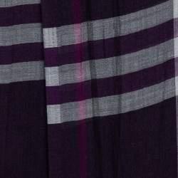 Burberry Purple Giant Check Wool & Silk Scarf