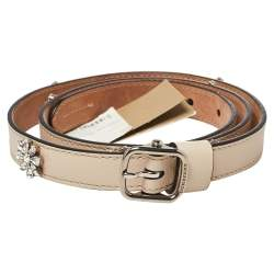 Burberry Cream Leather Crystal Embellished Daisy Slim Belt 85 CM