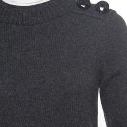 Burberry Prorsum Grey Merino Wool and Cashmere Shoulder Button Detail Sweater M