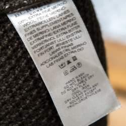 Burberry Dark Green Merino Wool Tab Detail High Neck Sweater Top S