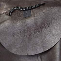 Burberry Prorsum Brown Lamb Leather Fringed Trim Jacket S