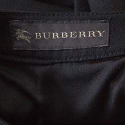Burberry Black Wool Crepe Buttoned Long Sleeve Balloon Hem Dress M