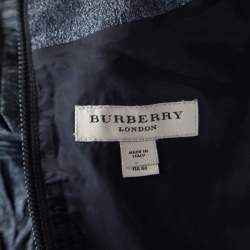 Burberry London Metallic Silver Jacquard Plunge Neck Short Sleeve Dress M