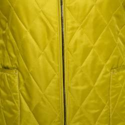 Burberry Pear Green Zip Front Quilted Jacket XS