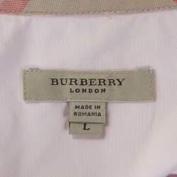 Burberry Light Pink Stretch Cotton Button Front Shirt L