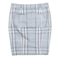 Burberry Brit Grey Checked Stretch Cotton Pencil Skirt S