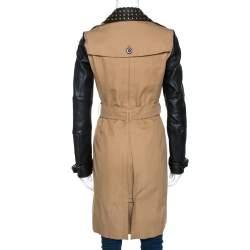 Burberry Brit Bicolor Cotton Leather Trim Studded Coat XS