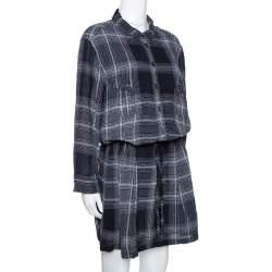 Burberry Brit Grey Plaid Wool Drawstring Detail Midi Dress L