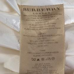 Burberry White Cotton Double Breasted Belted Trench Coat S