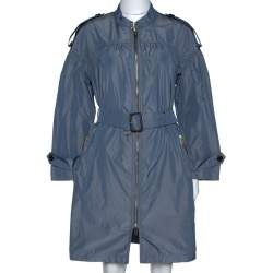 Burberry Stone Blue Ruched Light Weight Belted Coat S