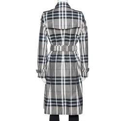 Burberry Black Nova Check Belted Trench Coat S
