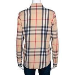 Burberry Brit Beige Nova Check Button Front Shirt M