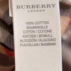 Burberry Beige Novacheck Cotton Kimono Sleeve Sheer Wrap Top M