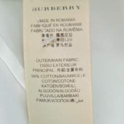 Burberry White Stretch Cotton Long Sleeve Button Front Shirt S