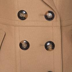 Burberry Brit Camel Brown Wool Double Breasted Coat S