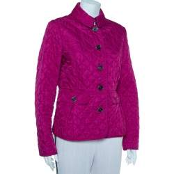 Burberry Brit Fuschia Pink Synthetic Quilted Jacket L