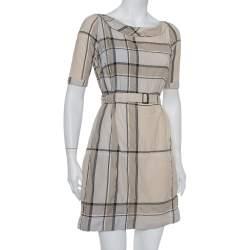 Burberry Brit Beige Checkered Pattern Cotton Belted Mischa Dress XS