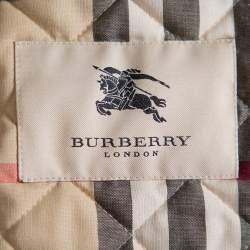 Burberry Silver Synthetic Quilted Belted Collared Jacket M