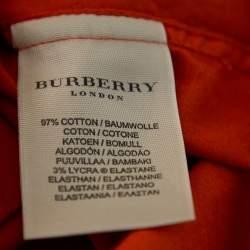 Burberry Orange Cotton Pocket Detail Button Front Shirt S