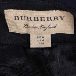 Burberry Navy Blue Wool Crest Detail Cropped Trousers S