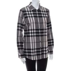 Burberry Monochrome Cotton House Checkered Button Front Shirt M