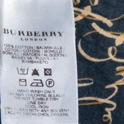 Burberry Black Logo Printed Cotton Ruffled Neck Detail Button Front Shirt M