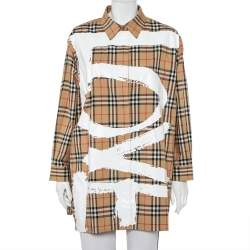 Burberry Beige Vintage Check Love Printed Cotton Oversized Shirt L