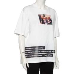 Burberry White Montage Printed Cotton Round Neck Oversized T-Shirt L
