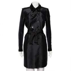 Burberry Black Synthetic Sequin Trim Double Breasted Belted Trench Coat M