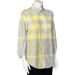 Burberry Yellow Checked Cotton Tunic Shirt L